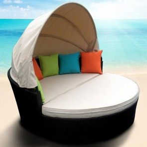 Wicker Day Bed with Fabric Canopy