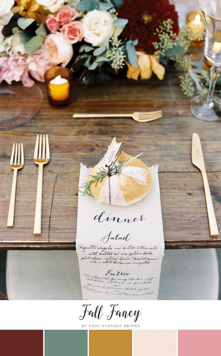 A Rich Fall Wedding Color Palette || Autumn Weddings || Wedding Place Settings || Wedding Colors