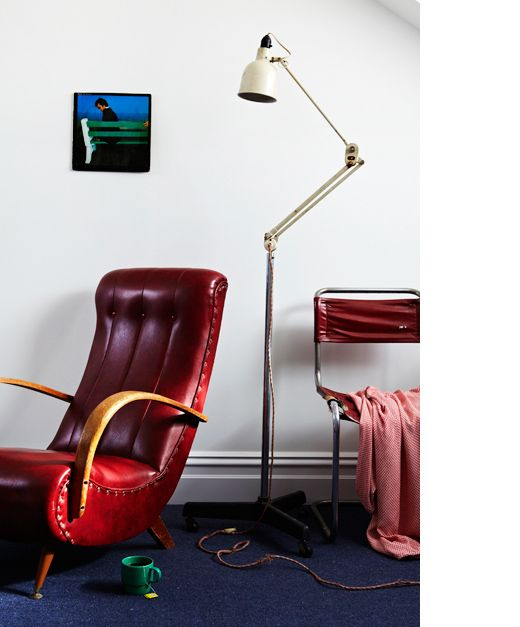 The Yarraville home of photographer Armelle Habib!  Red curved chairs bought in Adelaide 15 years ago – a bargain at $35 a pair. Planet Lamp. Boz Scaggs album cover, 'I love green' says Armelle!  All photos in this post by Armelle Habib.