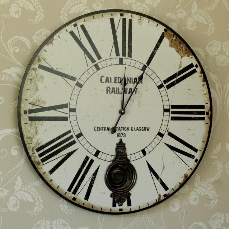Large Pendulum Railway Wall Clock New