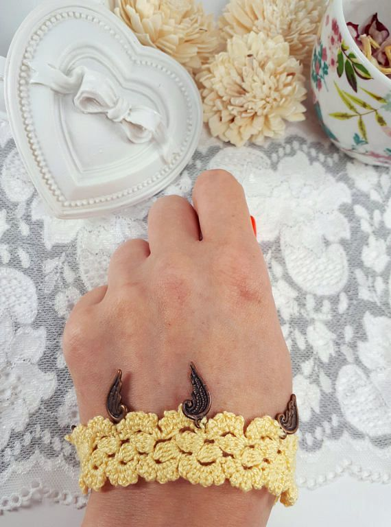 Yellow crochet jewelry crochet bracelet yellow jewelry with
