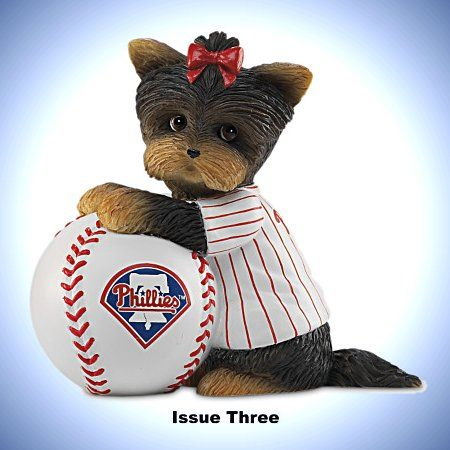 MLB Philadelphia Phillies Yorkie Figurine Collection: Furry Best Phillies Fans