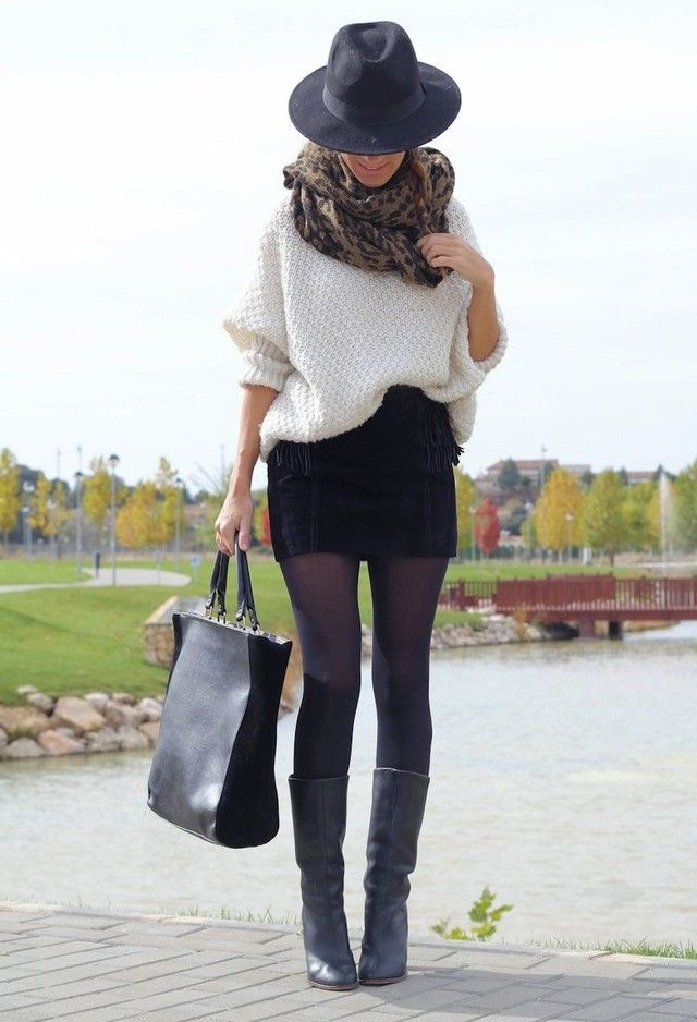 my black hat, a cheetah scarf, chunky sweater, black skirt, boots. 21 Winter Combinations With Skirts