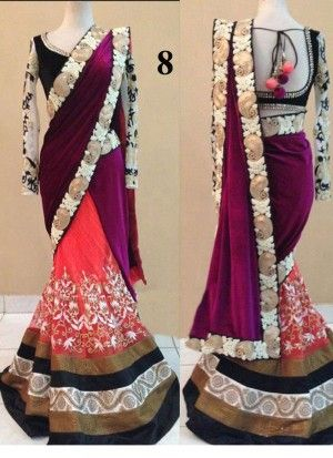 Buy Rani Pink Designer Velvet & Net With Lace Work Lehenga Saree Online