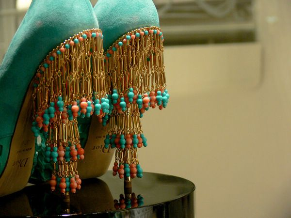 Dior never ceases to amaze me...: Teal Shoes, Vintage Dior, Fashion, Christian Dior, Dance Shoes, Beads, High Heels, Fringes, Dior Shoes
