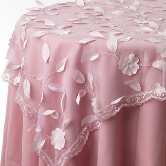 Pink Blossom Print Table Linen Rentals