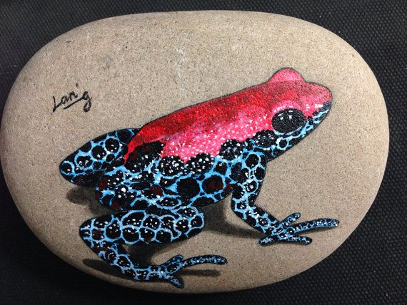 Hand painted signed rock/stone RedBlue Frog