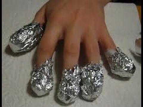 Principiantes: Tutorial cómo eliminar uñas acrílicas con algodón y papel de aluminio - YouTube