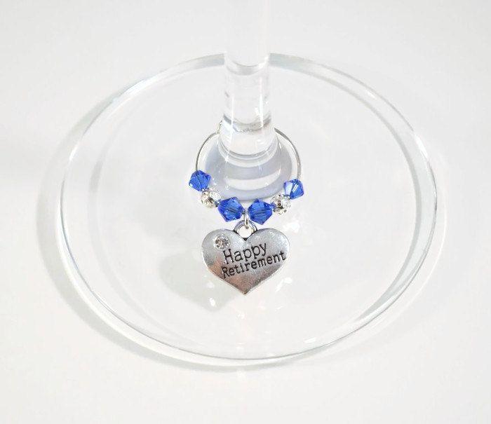 Retirement Wine Glass Charm - Swarovski Crystal - Happy Retirement Gift - Retirement Celebration - Retirement Party - Retirement Teacher by PeriwinkleBeadDesign on Etsy