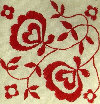 Embroidery in Swedish Delsbosöm tradition designed by Helena Ericsson