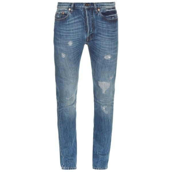 Valentino Distressed slim-leg jeans ($695) ❤ liked on Polyvore featuring men's fashion, men's clothing, men's jeans, mens ripped jeans, mens destroyed jeans, mens slim fit ripped jeans, mens slim fit jeans and mens torn jeans