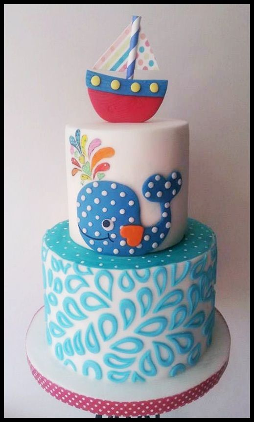 Splish Splash  - hand cut whale with painted water, the bottom tier was done using an onlay.