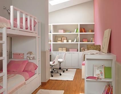 Pink Bedroom With Separate Desk Area
