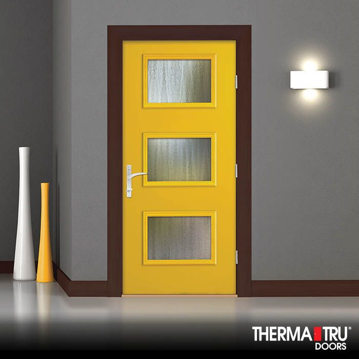 Therma Tru Pulse Ari Smooth Fiberglass Door Painted Citrus Door Includes  Chinchilla Privacy And Textured Glass U2013 A Free Flowing Configuration With  Quiet ...