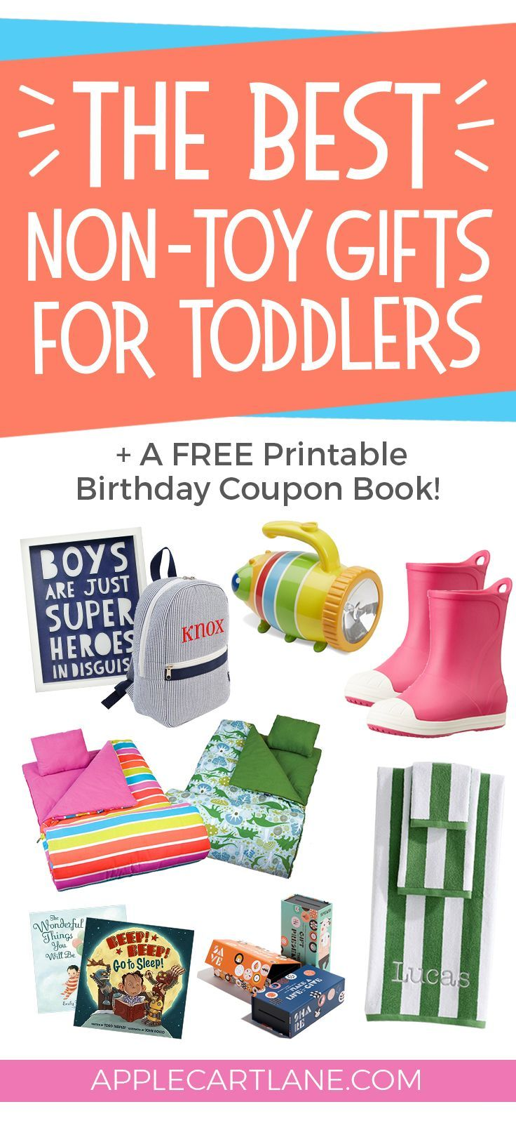 A fun and unique list of non-toy gifts for toddlers, PLUS, a free printable birthday coupon book!