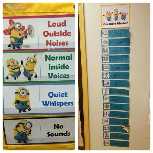 Minion themed classroom: noise level chart and visual schedule