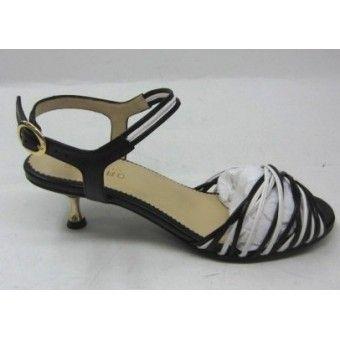 Cannes, sort og hvid sandal