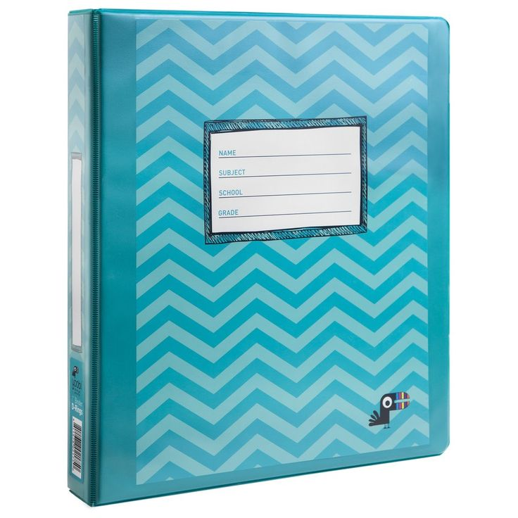 1 Inch Binder with D-Rings - Aqua Chevron