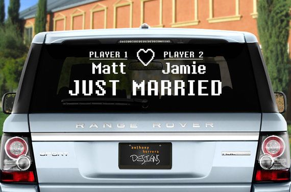 Custom Names 8-Bit Gamer / Player 1, Player 2 Just Married Wedding Vinyl Window Cling Decal