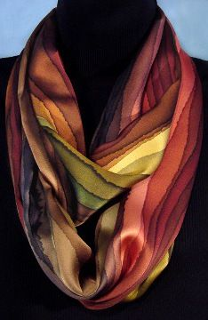 Earth tone hand dyed silk infinity scarf $85
