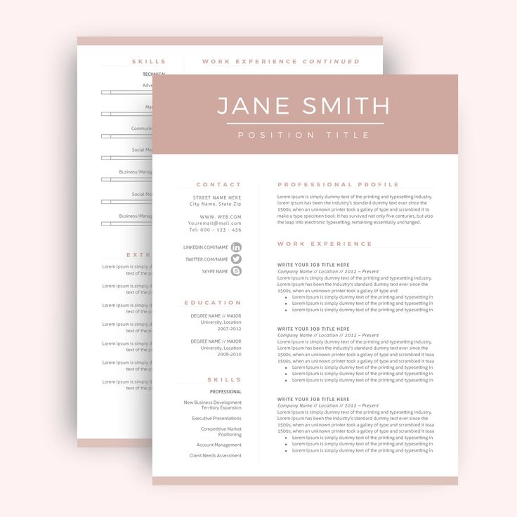 Professional Resume Template / CV Template for Word, Two Page Resume, Cover…