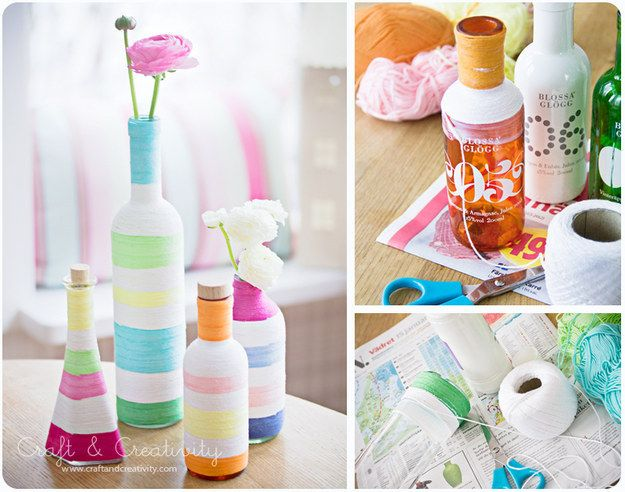 Old bottles can become new again with some multicolored yarn.   28 Super Easy Yarn DIYs That Require Zero Knitting