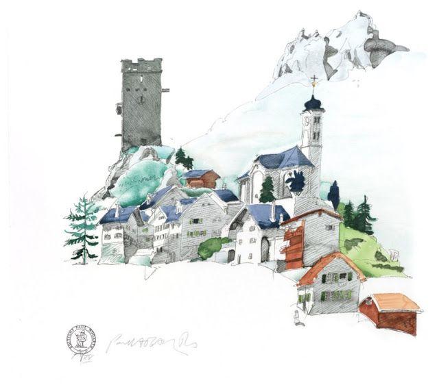 Paul Hogarth / Hospenthal, Switzerland / 1990 / lithograph