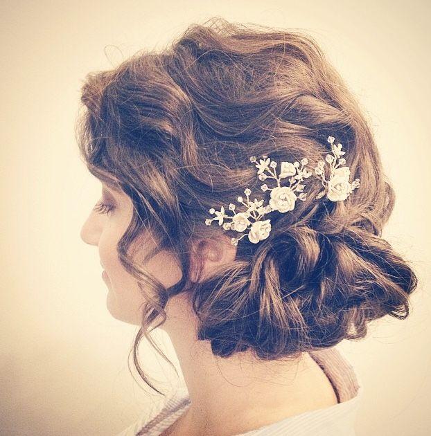 Bride Andrea hair by Morgan at Civello Queen, photo taken in salon by Morgan