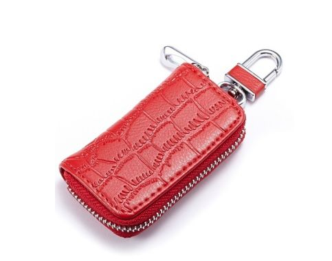 Red Colour PU Keyholder with Zipper