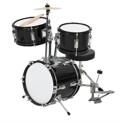3-Piece Beginners Kids Drum Set - Black