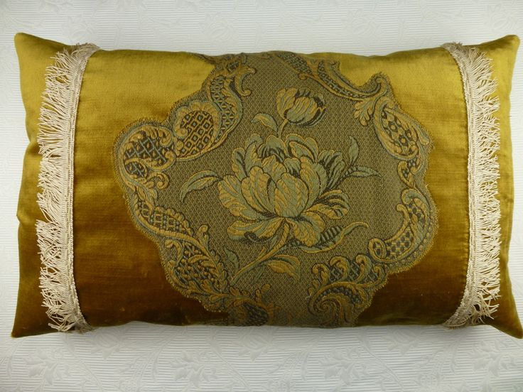Antique French linen Brocade boudoir pillow cushion, handmade pillow. Vintage brocade, velvet pillow 14,5x23,5 from early 1900. by AntiquePillows on Etsy