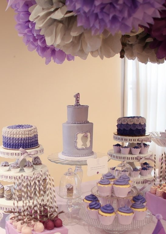 Dessert Table Purple Ombre Party First Birthday Gourmayatumblr