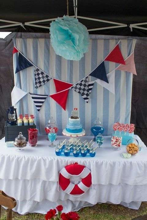 Red, white and blue nautical baby shower party! See more party planning ideas at CatchMyParty.com!
