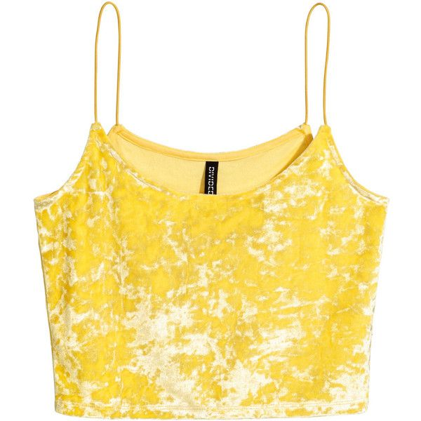 Crushed velvet strappy top 59.90 ❤ liked on Polyvore featuring tops, yellow crop top, cut-out crop tops, cropped tops, spaghetti-strap tops and strap crop top