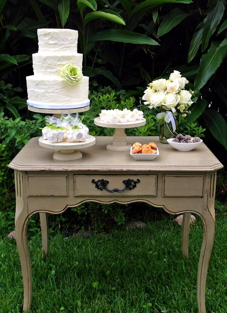 Green-themed vintage dessert table by Simply Sweet Shop #wedding #neworleanswedding #rusticcake #macaroons #marshmallows #cakebites #truffles