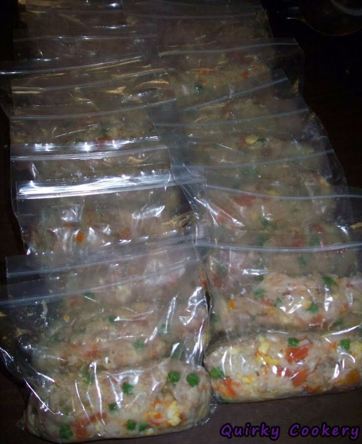 Homemade dog food with chicken, peas, carrots, potatoes, rice, and gravy - Split up into ziploc baggies to freeze