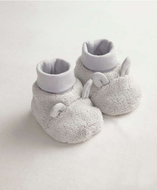 Unisex Welcome To The World Grey Faux Fur Booties