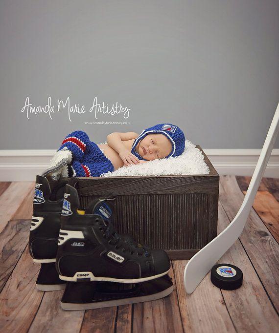 Baby Boy Hockey set helmet Ice Skates and pants by LovelyBabyKnits