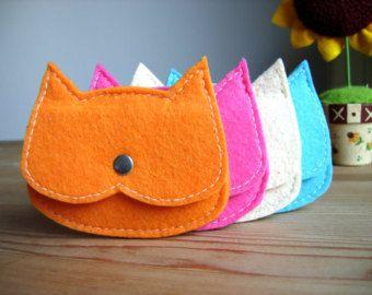 Set van 4 heldere kleur kat zakjes, Kids Party geschenken, kids coin purse, kleine zakje, kinderen de idee van de gift, gunst zakken, voelde kat portemonnee, vegan etui
