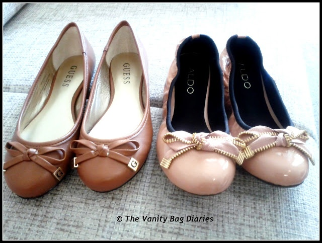 So finally I am ending my US haul-a-thon with a SHOE haul ..hope you enjoy the post  Tan flats from Guess and Nude flats from Aldo           Black Peep toes from Nine West             Tan Pumps from Nine West