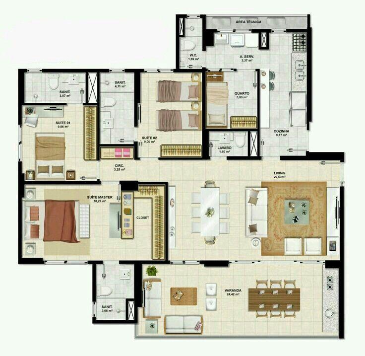 23 best casa images on Pinterest House floor plans, Home plans and - plan maison plain pied 80m2