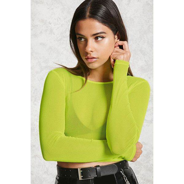 Forever21 Sheer Ribbed Crop Top ($13) ❤ liked on Polyvore featuring tops, neon yellow, yellow long sleeve top, cut-out crop tops, see through tops, neon yellow crop top and crop top
