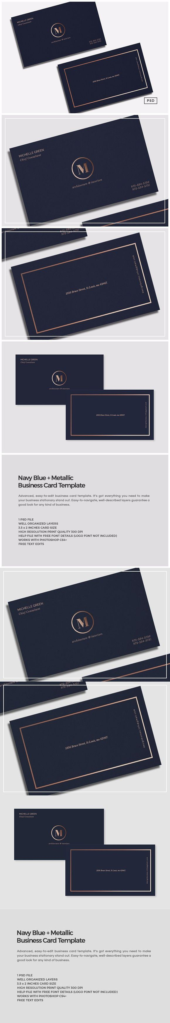 436 best busy business card images on pinterest business cards navy blue metallic business card creative business card templates magicingreecefo Images