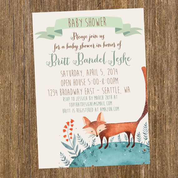 woodland creatures baby shower invitation digital by