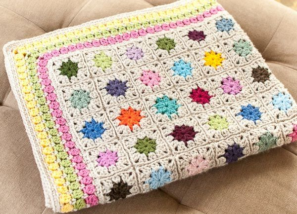 Cluster Burst Afghan Crochet Pattern #crochet #afghan #granny by Michellena