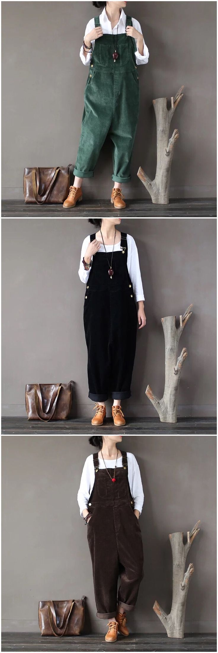 Corduroy loose overalls women's clothes trousers