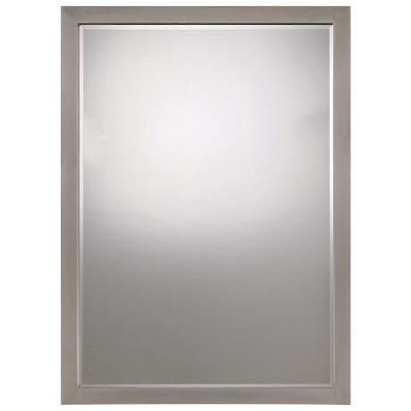 """Paradox  Brushed Nickel Finish 33"""" High Wall Mirror - 24"""" wide"""