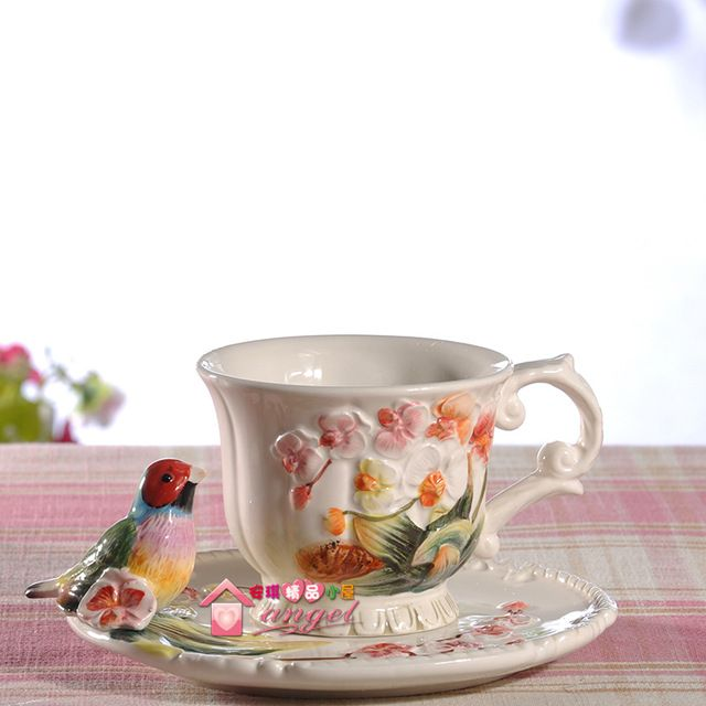 Чай кофе кружки керамические птицы цветы молоко чашки домашнего декора комнаты ремесло свадебные украшения фарфоровая статуэтка ремесло кубок