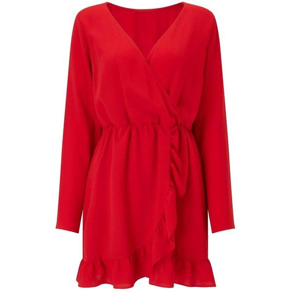 Miss Selfridge Red Long Sleeve Wrap Dress ($44) ❤ liked on Polyvore featuring dresses, red, long sleeve day dresses, red day dress, miss selfridge, red dresses and red wrap dress
