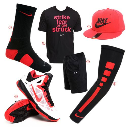 Nike b-baller! Get the look for your next game!  1. Nike Elite Basketball Crew Socks  2. Strike Fear Tee by Nike  3. Classic Fleece Sweat Shorts  4. Snapback Hat  5. Elite Basketball Arm Sleeve  6. Nike Zoom Hyperchaos Sneakers